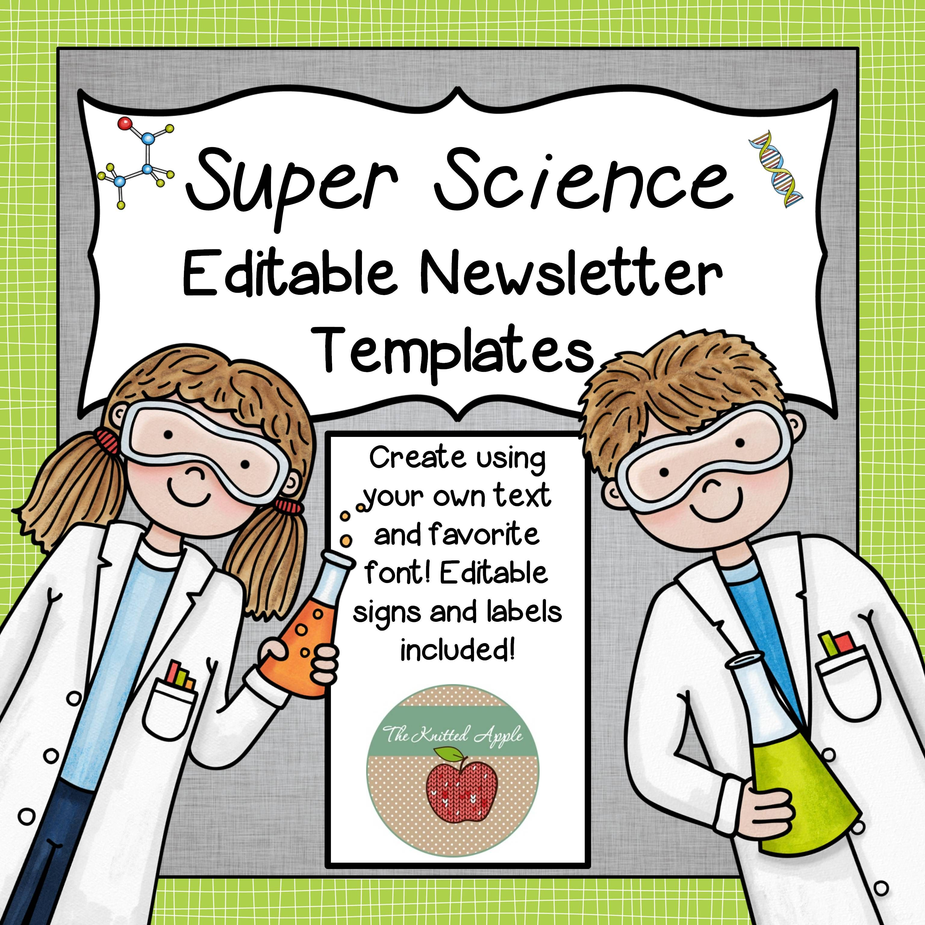 Editable Science Newsletter Templates Signs And Labels Tpt