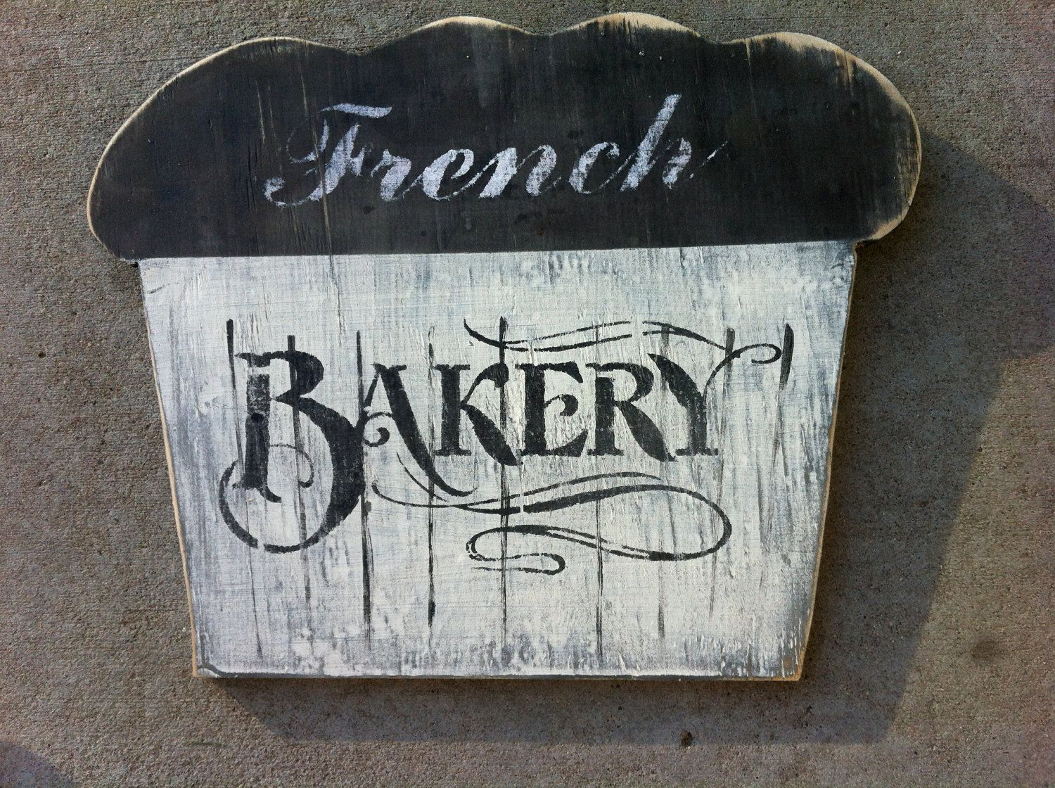 Hand Painted Vintage Looking Muffin French Bakery Wood