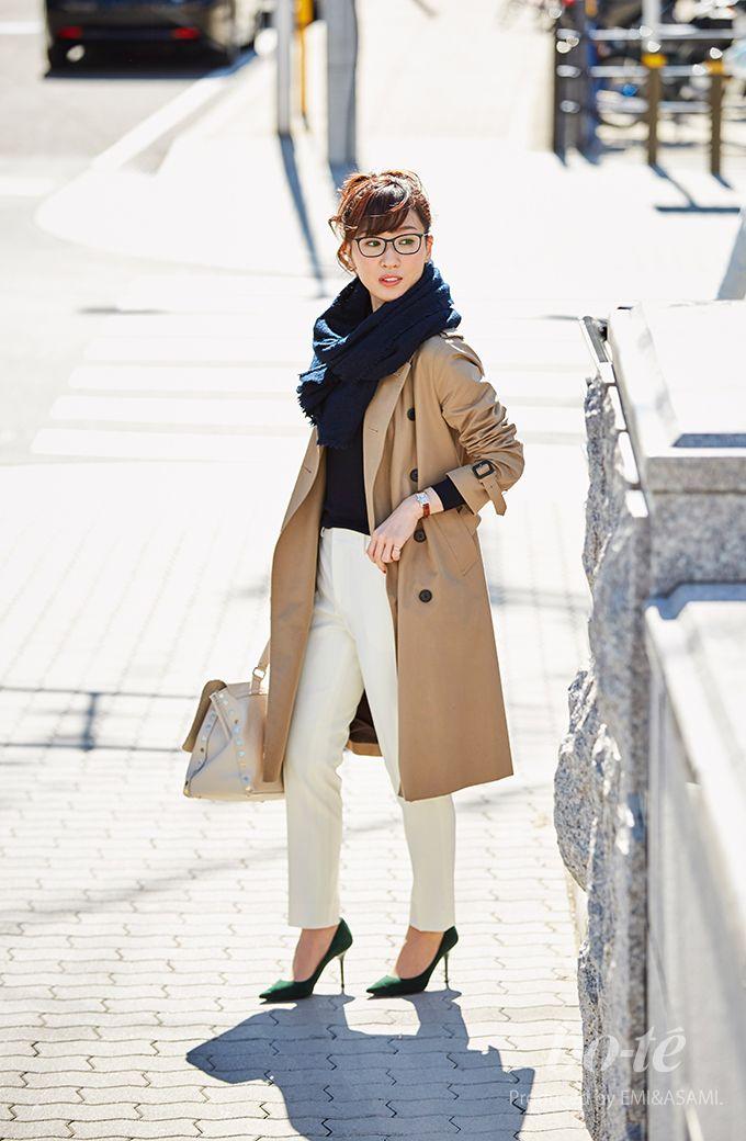 72755dbe94758 メンズライクなトレンチコートを女性らしく着こなしたキレイめカジュアル1 fashion  coordinate  ファッション  コーデ