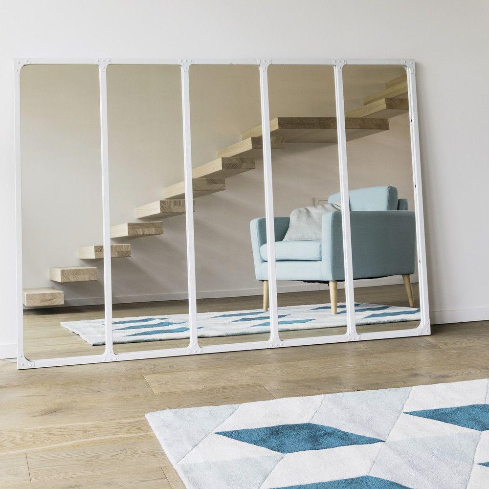 Pour un effet verri re pr s de la fen tre miroir en m tal blanc 123x180 maisons du monde for Miroir type verriere