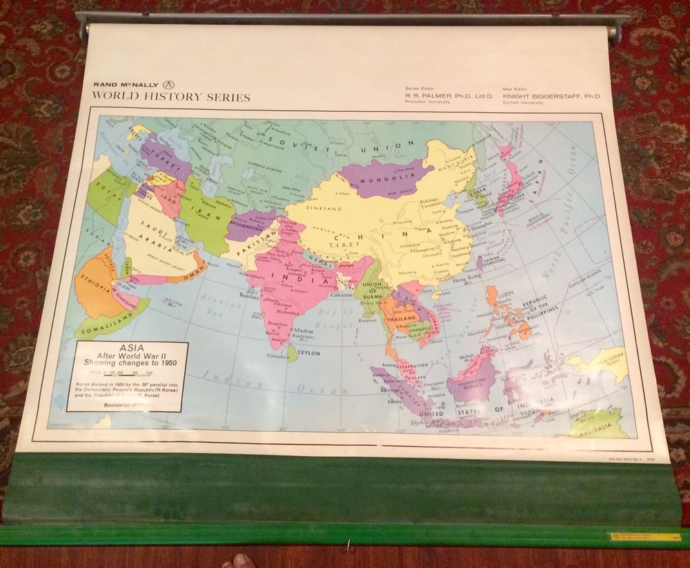 Vintage rand mcnally world history series pull down school map asia vintage rand mcnally world history series pull down school map asia after ww2 in antiques gumiabroncs Image collections