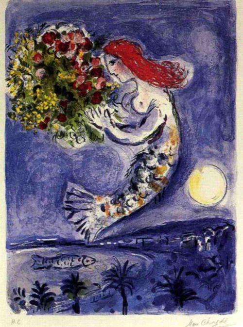 1962  Marc Chagall  La baie des Anges  Lithographie en Couleur  57x78 cm    Collection Particulière