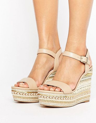 db0f3fcd2ea1bf Lily Espadrilled Nude Wedge Heeled Sandals by Faith. Wedges by Faith