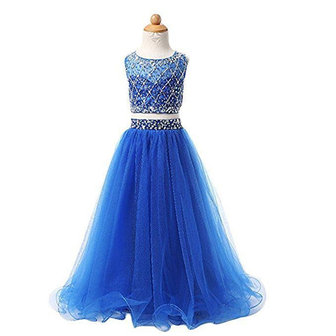 2018 Chic Royal Blue Tulle Girls Pageant Dresses Two Piece Floor Length  Beads Flower Girl Dress Kids Prom Evening Gowns Formal Party Dress Flower  Girl ...