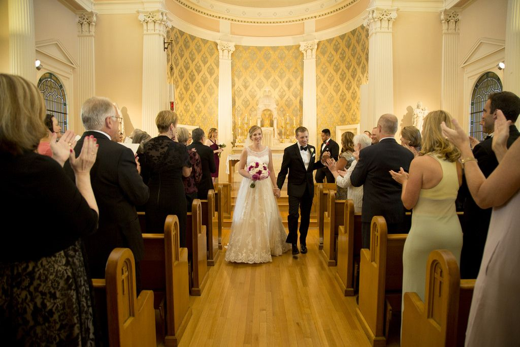 Just married romantic picture at holy names academy