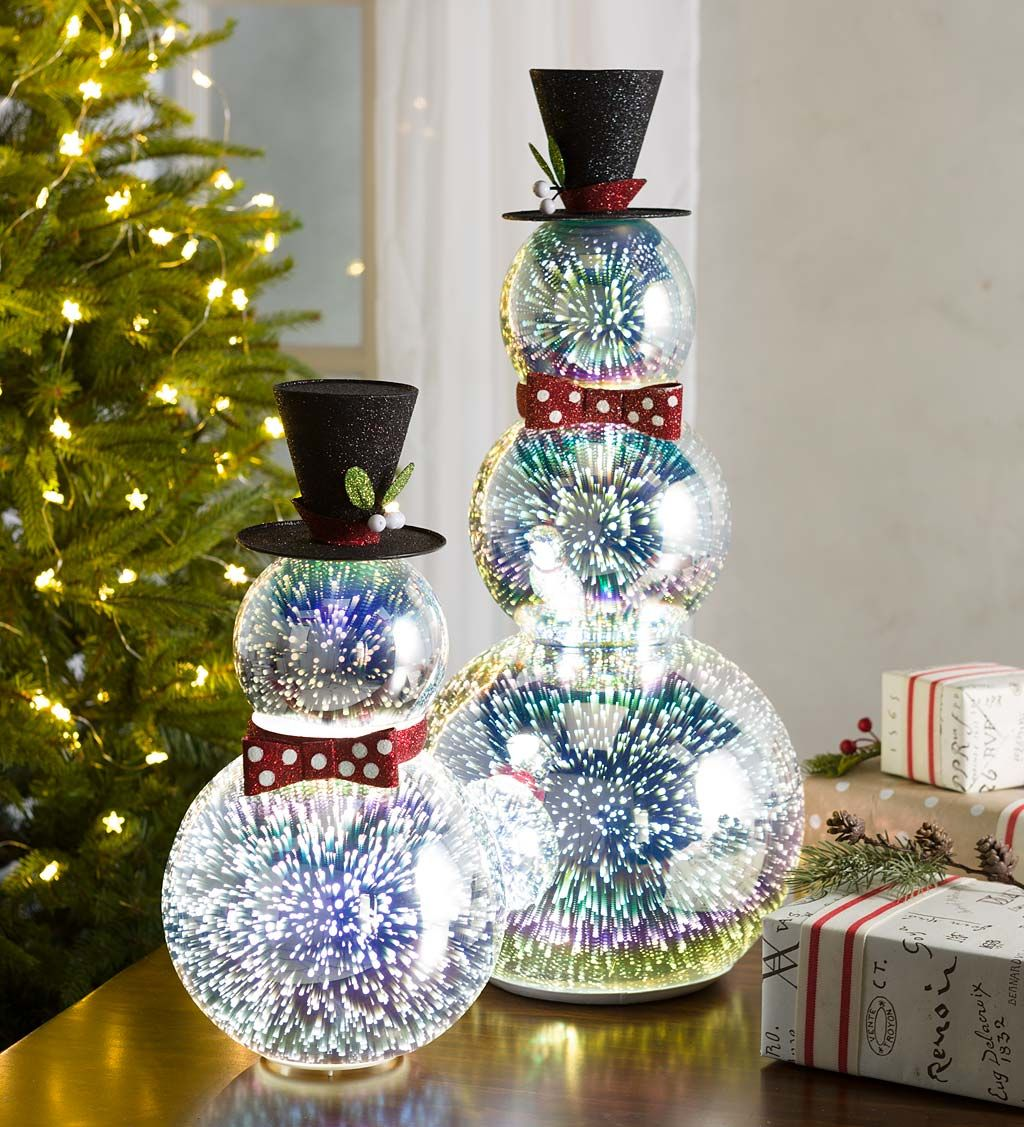 Glass Snowman with 3D Light Effects, Short Indoor
