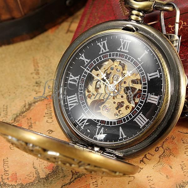 36957b4e80f Orologi da Tasca Vintage Automatica Meccanico Taschino Scheletrato Pocket  Watch