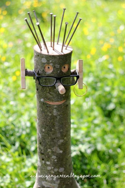 Der leibhaftige stockmann ein schweizer garten garten for Gartendeko aus birkenholz