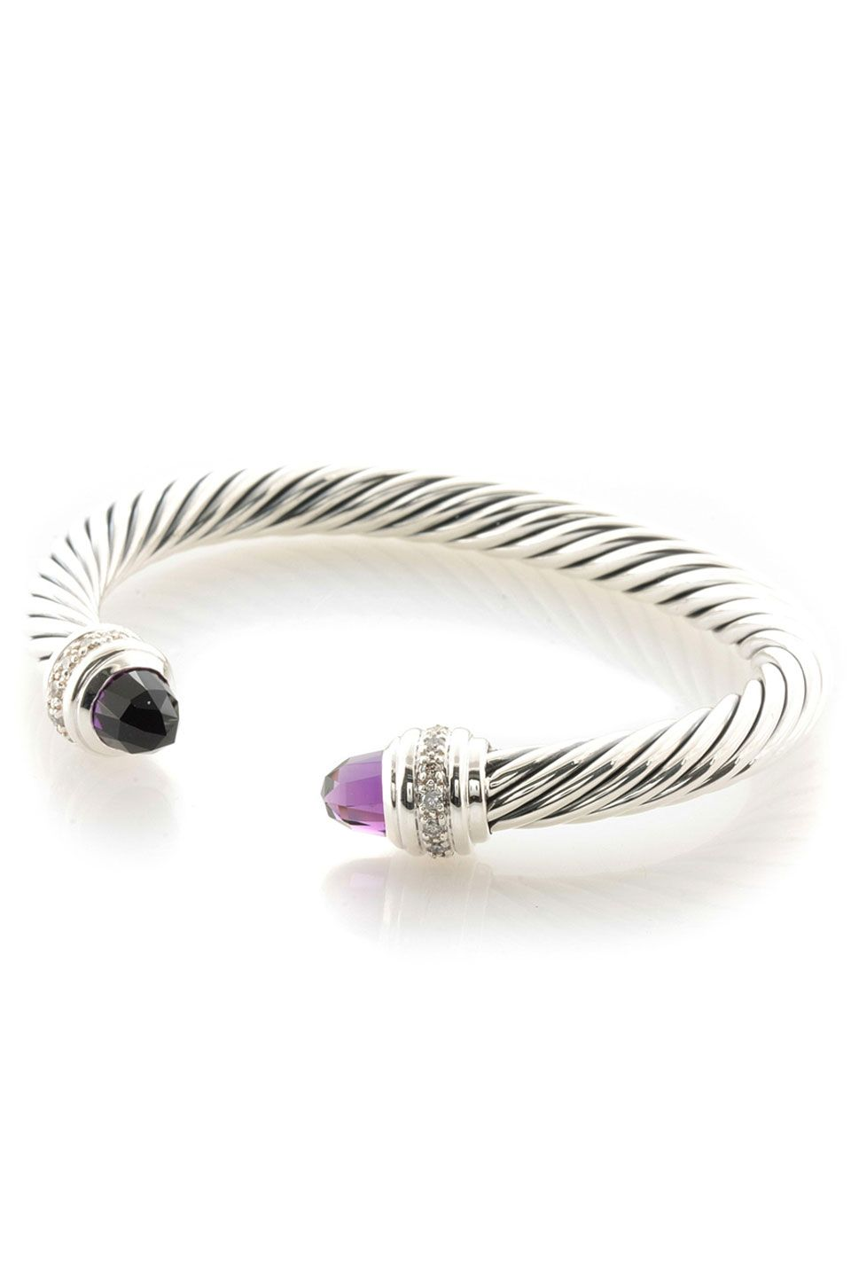 David Yurman Amethyst Diamond Silver Ice Bangle Bracelet