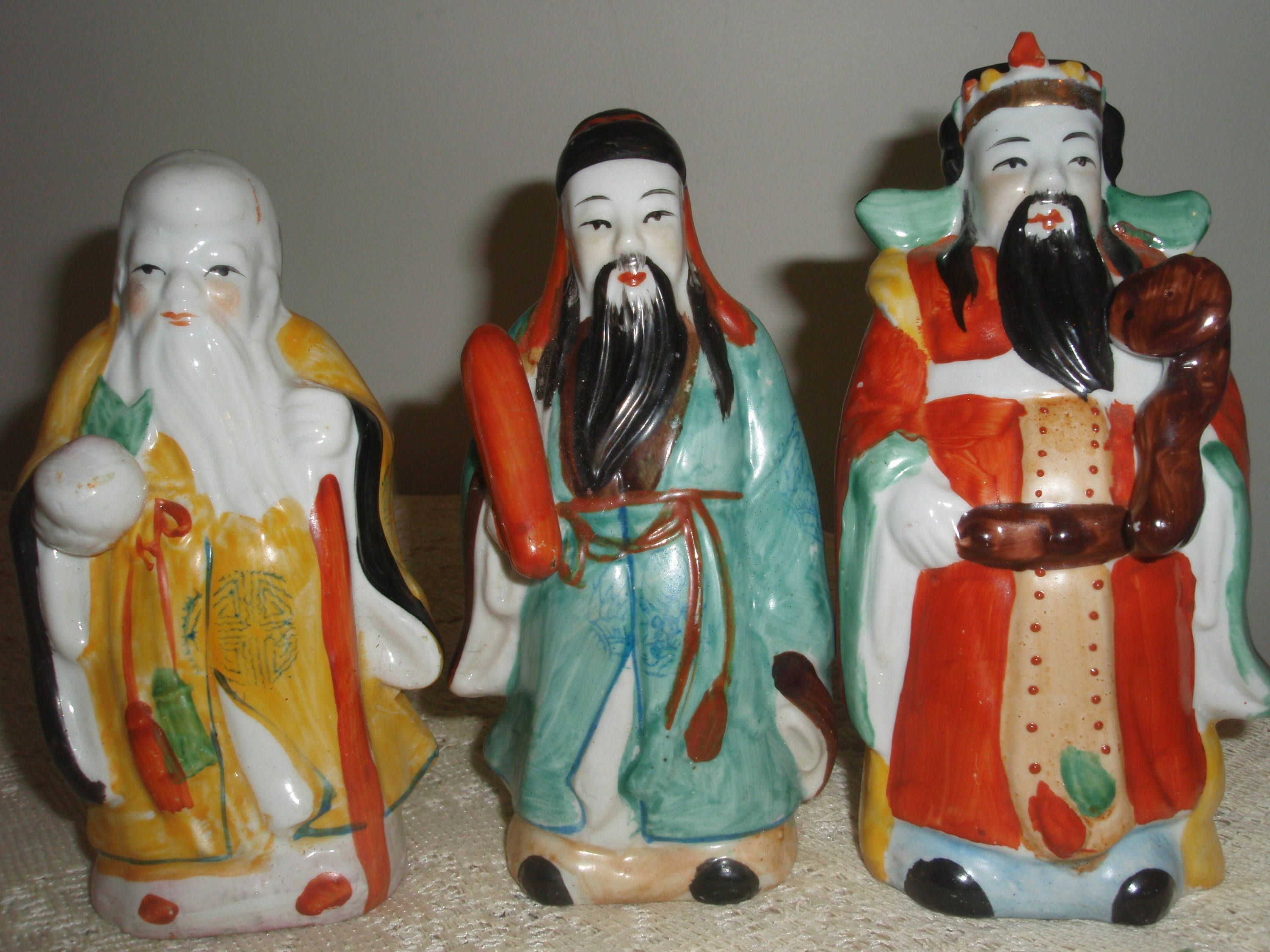 Three Asian Statues Feng Shui Figurines 3 Immortal