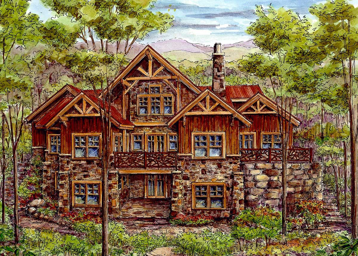 Plan 13319ww Luxury Log Home With Finished Lower Level Log Homes Log Homes Exterior Log Home Floor Plans