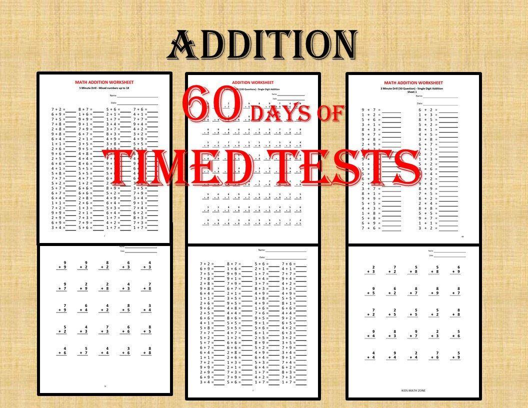 Addition Math Drills 60 Days Of Timed Tests Single Digits Etsy Math Drills Math First Grade Math [ 816 x 1056 Pixel ]