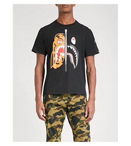 A BATHING APE Tiger Shark cotton-jersey T-shirt.  abathingape  cloth ... add01a9b9d