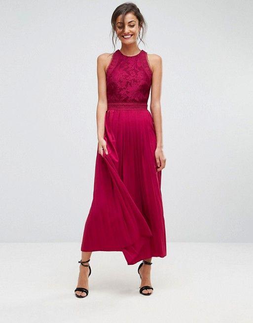 Lace Applique Top Maxi Dress - Berry Little Mistress Tall RelC35C