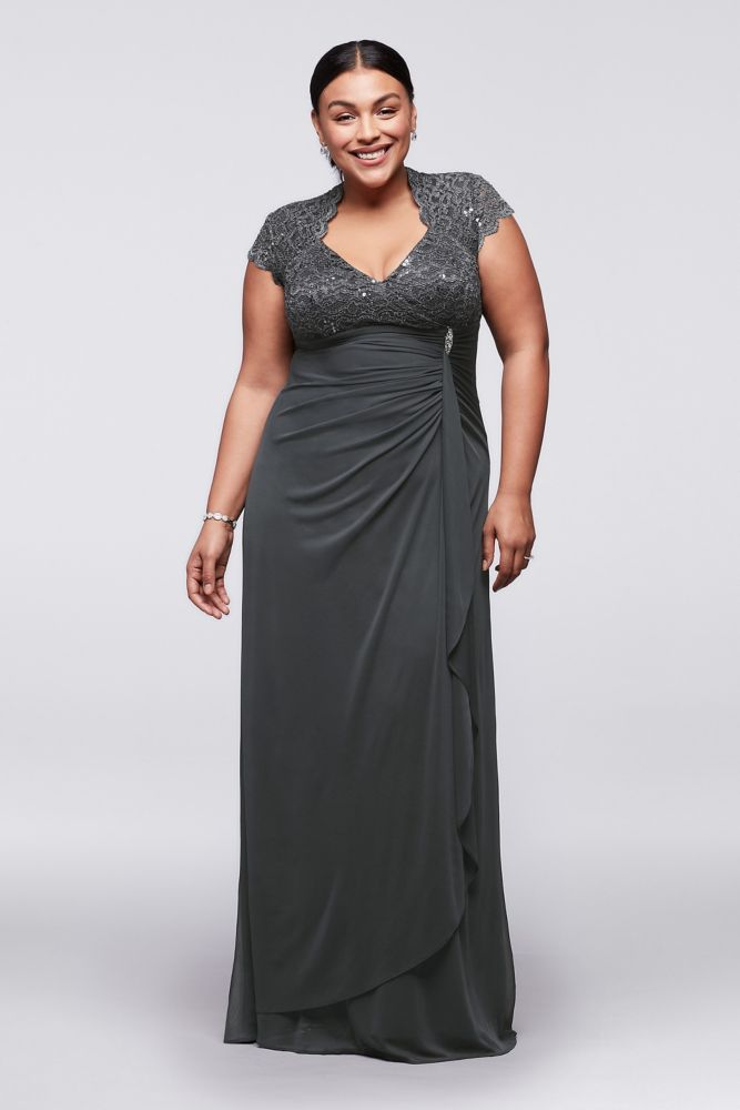 e240d18b973b5 Gathered Jersey Plus Size Mother of Bride Groom Dress with Lace Bodice -  Gunmetal