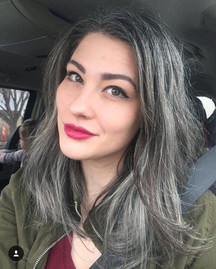 bright lip natural grey hair