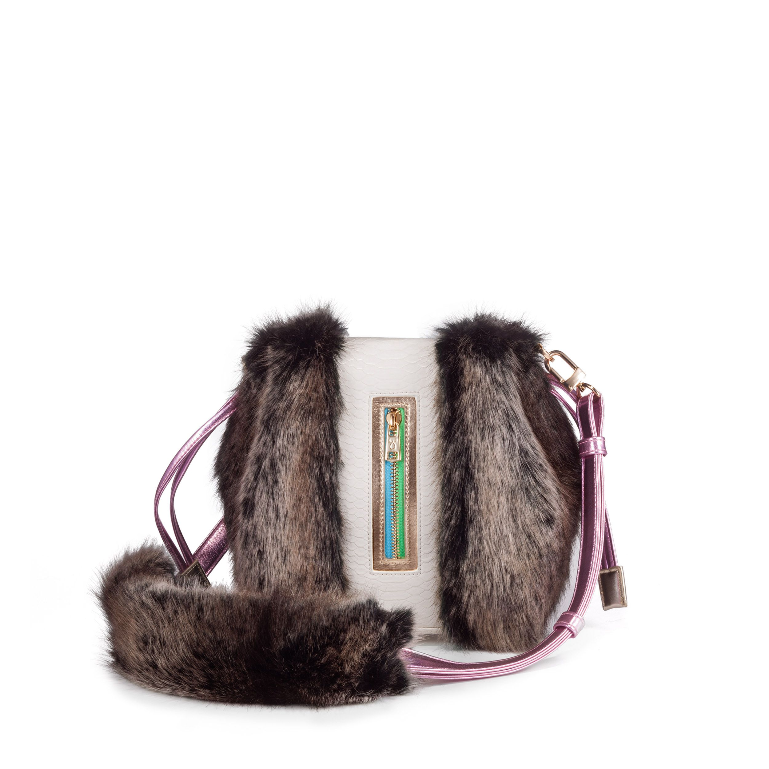 NAMI multicolor. A mini vegan bucket bag with an adjustable shoulder strap. Made of luscious faux exotic skins and faux fur #NeverLeather #NeverFur