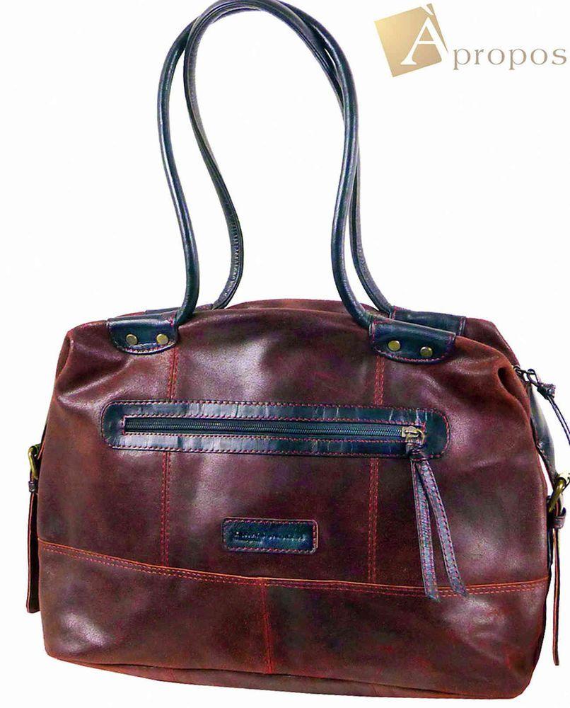 Vintage Look  Shopper 36cm Henkeltasche Schultertasche Leder Rot Apropos