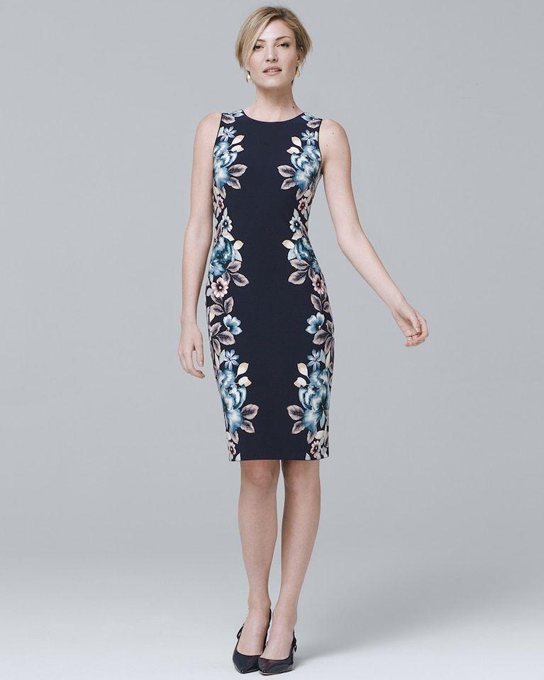 49d1dbbc Women's Reversible Floral Print Knit Sheath Dress by White House Black  Market