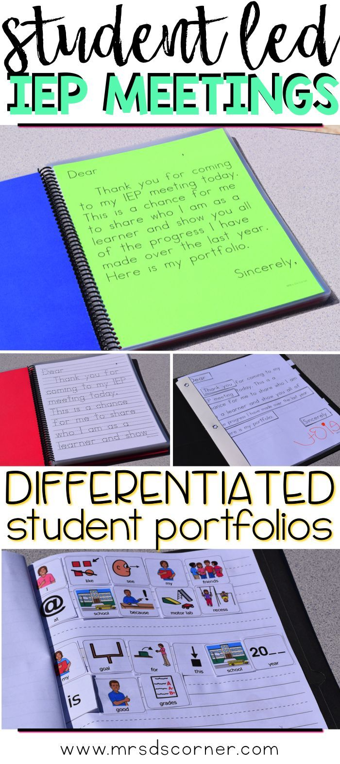 In Student led IEP meetings, the spotlight is on the most important person in the process: the student. Enter: Student Led IEP Meeting Toolkit. The only resource you need to get your students more involved in their learning and show the IEP Team (and most importantly the parents!) how much progress the child has made. Blog post at Mrs. D's Corner.