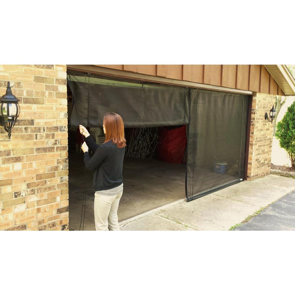 Fresh Air Screens 8 Ft X 7 Ft 3 Zipper Garage Door Screen With Rope Pull 1231 D 87 Rp The Home Depot In 2020 Garage Screen Door Brick Exterior House Garage Decor