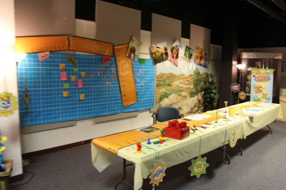 The Blueprint Wall Hanging (which you can actually write and post stickers on), WOW Decorating Gears, Theme Banner and the Giant Rulers are wonderful ways to WOW your visioneers! Use the Biblical Mural for your Bible Storytelling area too!