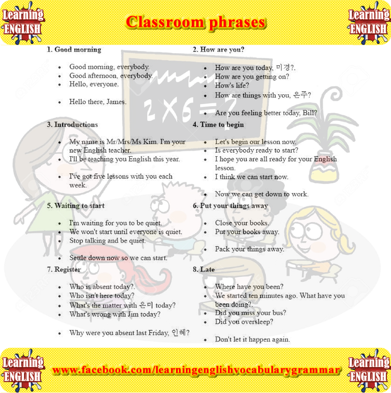 Classroom phrases - Learning basic English and grammar forum | class