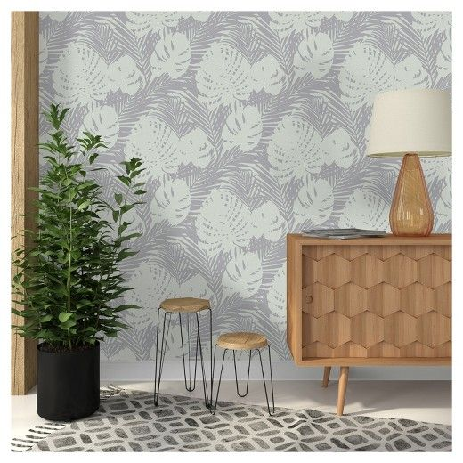 Devine Color Prints And Patterns Tropical Leaves Mauve Grey In A Deep Lavender And Taupe Color Way Is A Peel Peel And Stick Wallpaper Decor Paintable Wallpaper