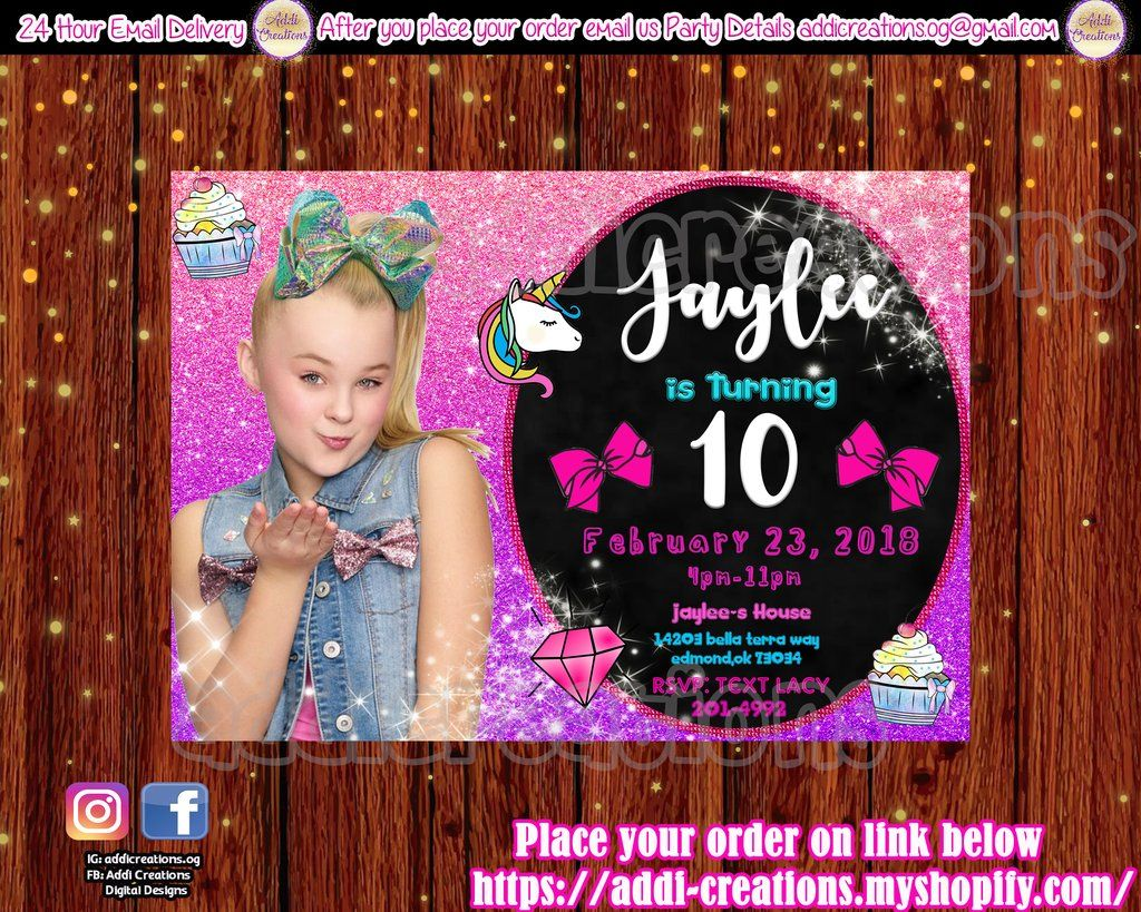Jojo Siwa Party Jojo Siwa Party Invitations Jojo Siwa Birthday