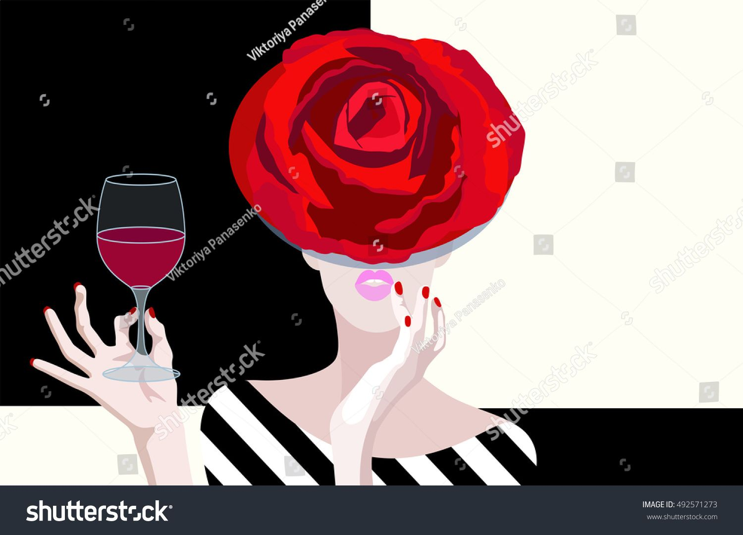 Abstract Vector Drawing Of Woman In Floral Hat Of Red Roses In Hand Glass Of Red Wine Color Print Design Restaurant F Woman Drawing Vector Drawing Image Fun