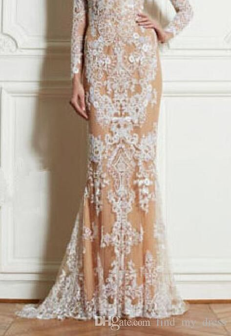 2014 Zuhair Murad Lace Evening Dresses Long Sleeve Crew Neck Floor Length White Lace Champagne Lining Sheath Party Gowns Custom E102