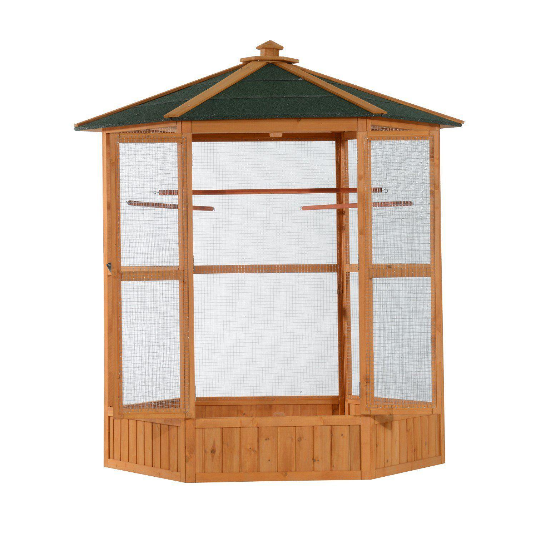 "Pawhut 65"" Hexagonal Outdoor Aviary Bird Cage - Green/Brown - Bird ..."