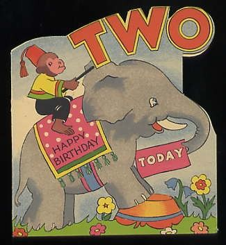 Vintage BABY 2nd Birthday ELEPHANT Monkey gReeTinG CARD - oLd stOcK Unused Circus Two year old. $5.00, via Etsy.