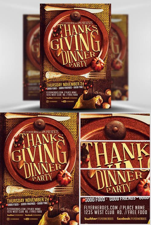 Flyer Template  Thanksgiving Dinner Party  Thanksgiving Graphic