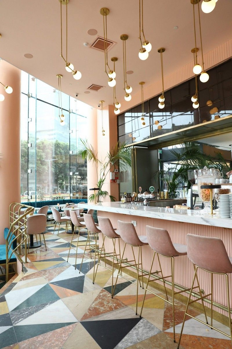 Pink and Marble Enliven this Restaurant Interior Design in