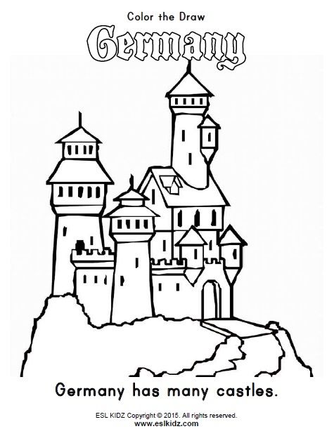Germany Themed Classroom Center Bundle Castle Coloring Page