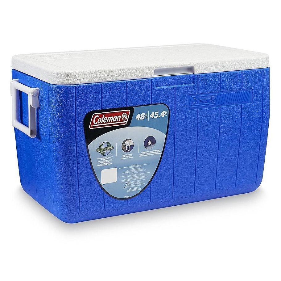 Ice Chest Cooler Picnic Camping Fishing Insulated Storage w/ Drain Blue 48 Quart #Coleman