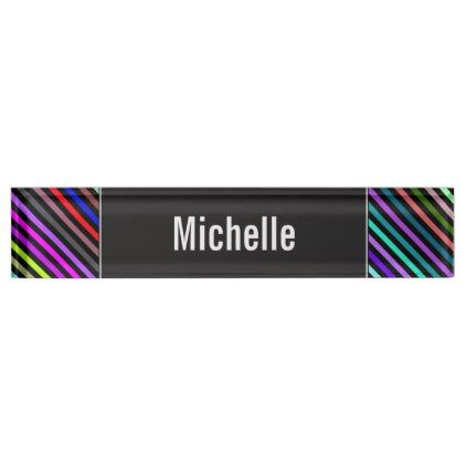 Custom Name Black Amp Colorful Lines Pattern Desk Name Plate