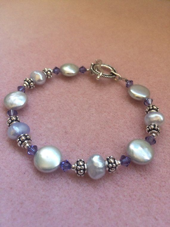 Photo of Purple Freshwater Pearl, Swarovski Crystal, and Sterling Silver Necklace and Bracelet Set