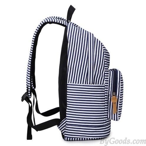 Summer Striped Leisure Canvas Backpack  4466f78d57eaf