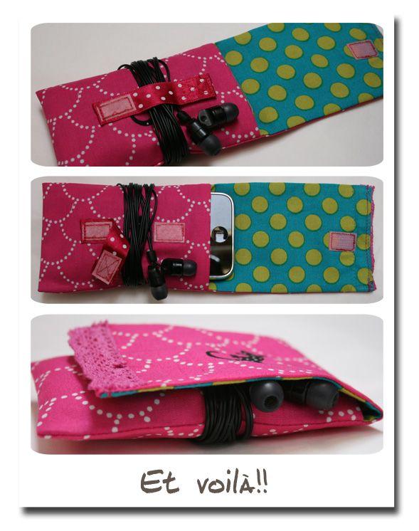 iphone pouch pochette iphone tuto couture accessoires pinterest baladeur mp3 tuis et. Black Bedroom Furniture Sets. Home Design Ideas