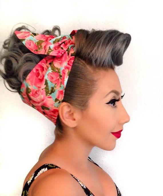Secret Garden Pinup Bandana Rockabilly 1950s Inspired Etsy Vintage Hairstyles Rockabilly Hair Vintage Hairstyles Tutorial