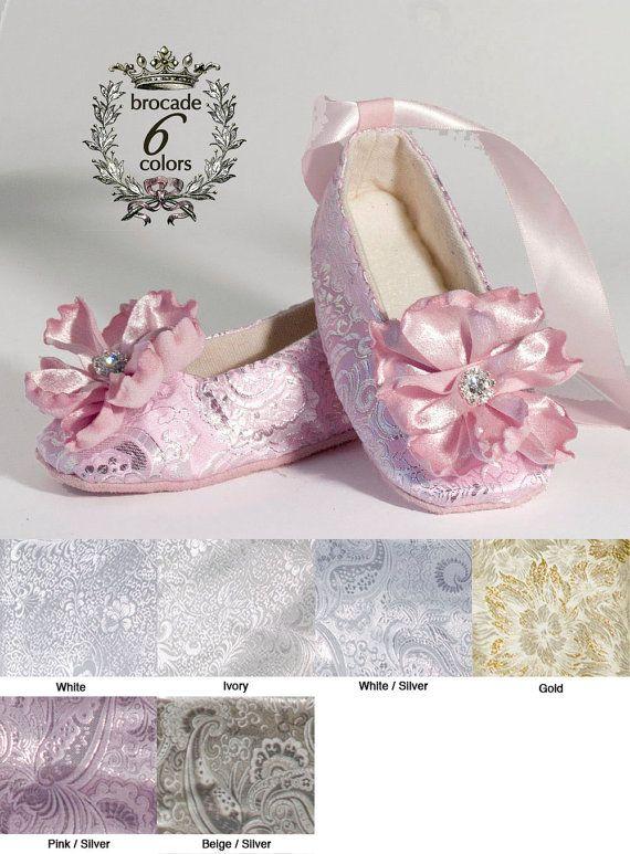 Pink And Silver Baby Ballet Slipper Wedding Toddler Flat Flower