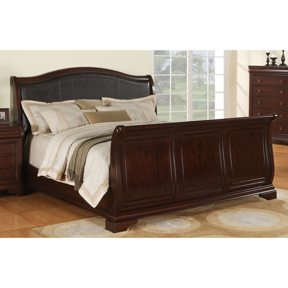 caspian faux leather sleigh bed overstock com shopping the best