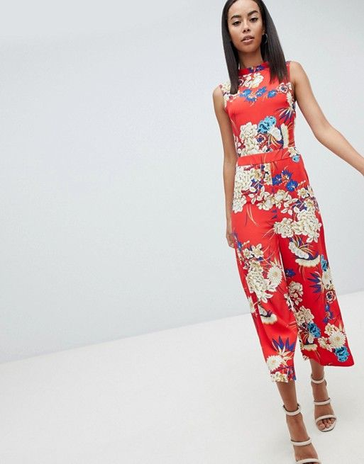 9aca809fcf25 Missguided Tall Open Back Floral Culotte Jumpsuit