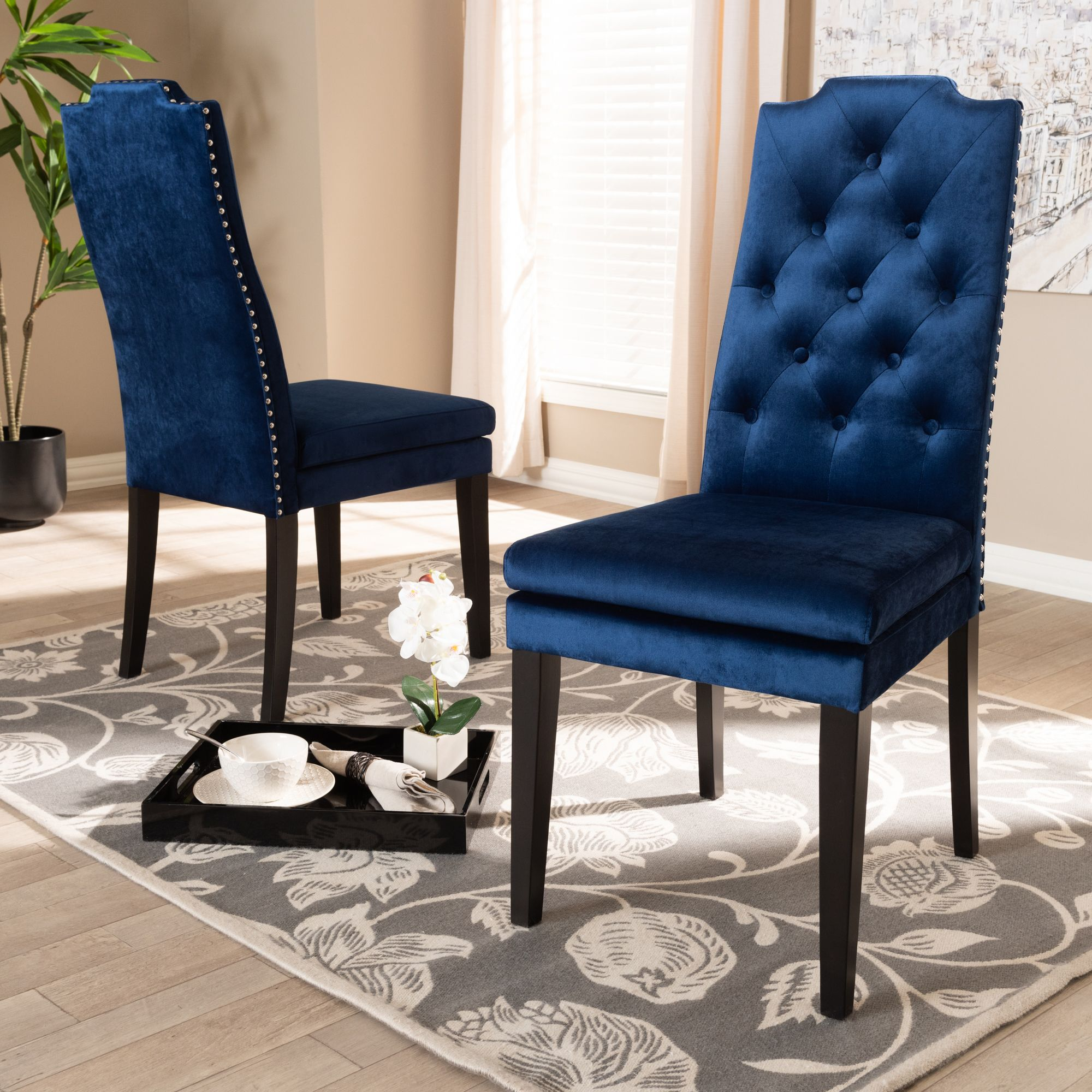 Baxton Studio Dylin Modern and Contemporary Navy Blue