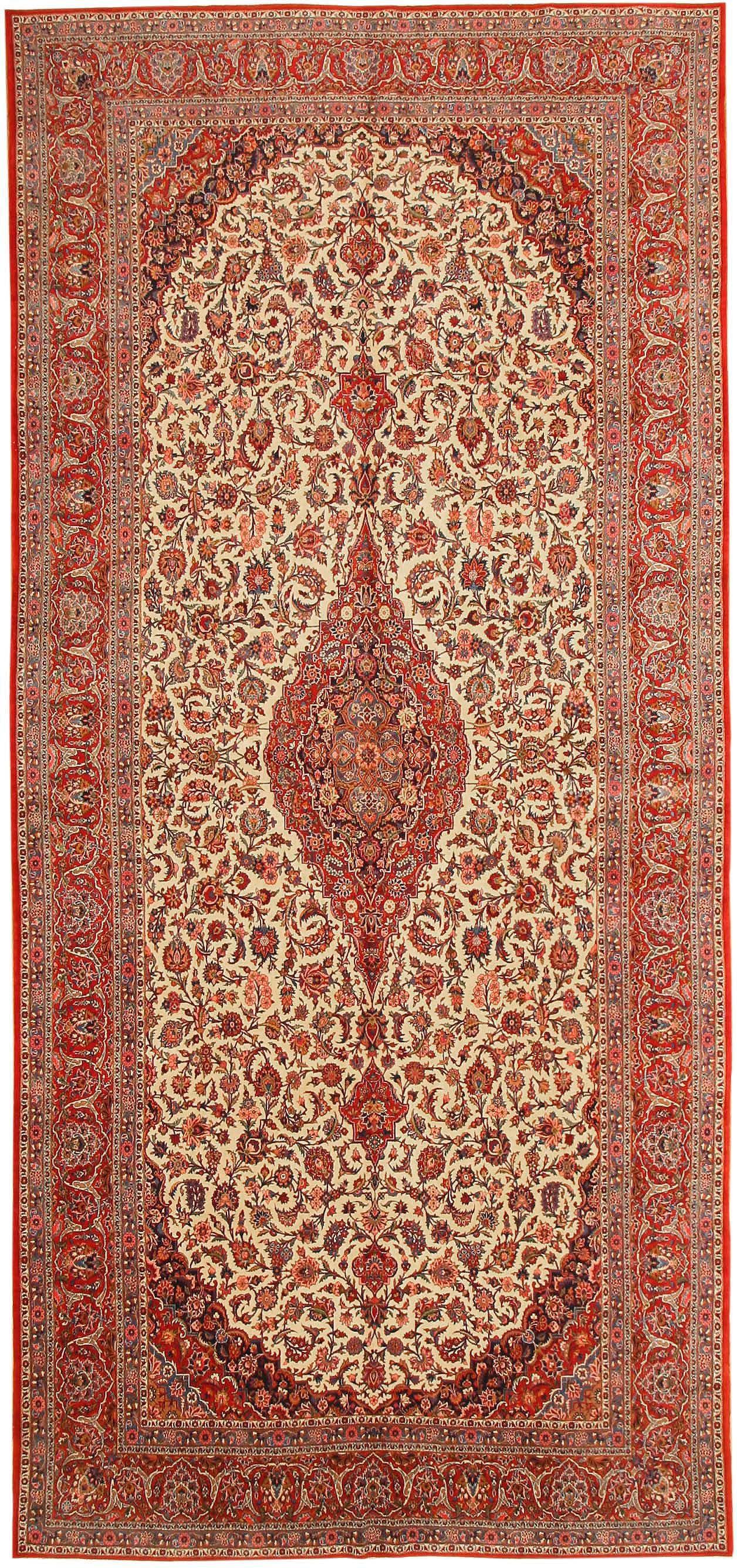 Antique Kashan Persian Rug 43580 Detail/Large View