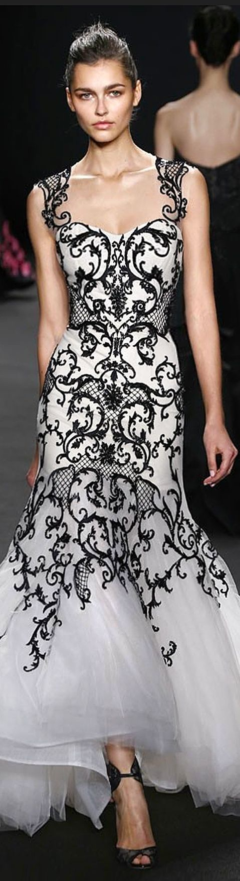white & black | fashion, beautiful gowns, evening gowns