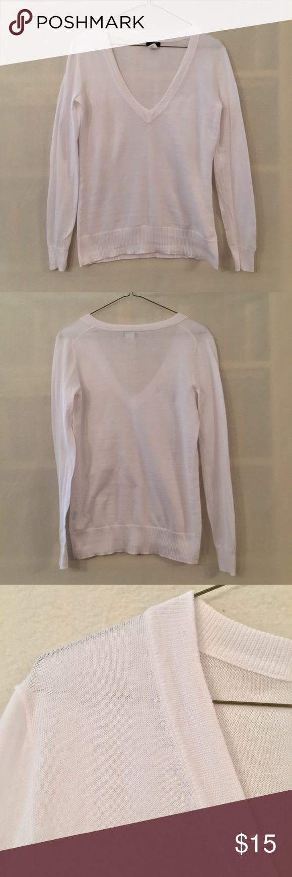 J. Crew white cotton v-neck sweater | White cotton, Cotton sweater ...