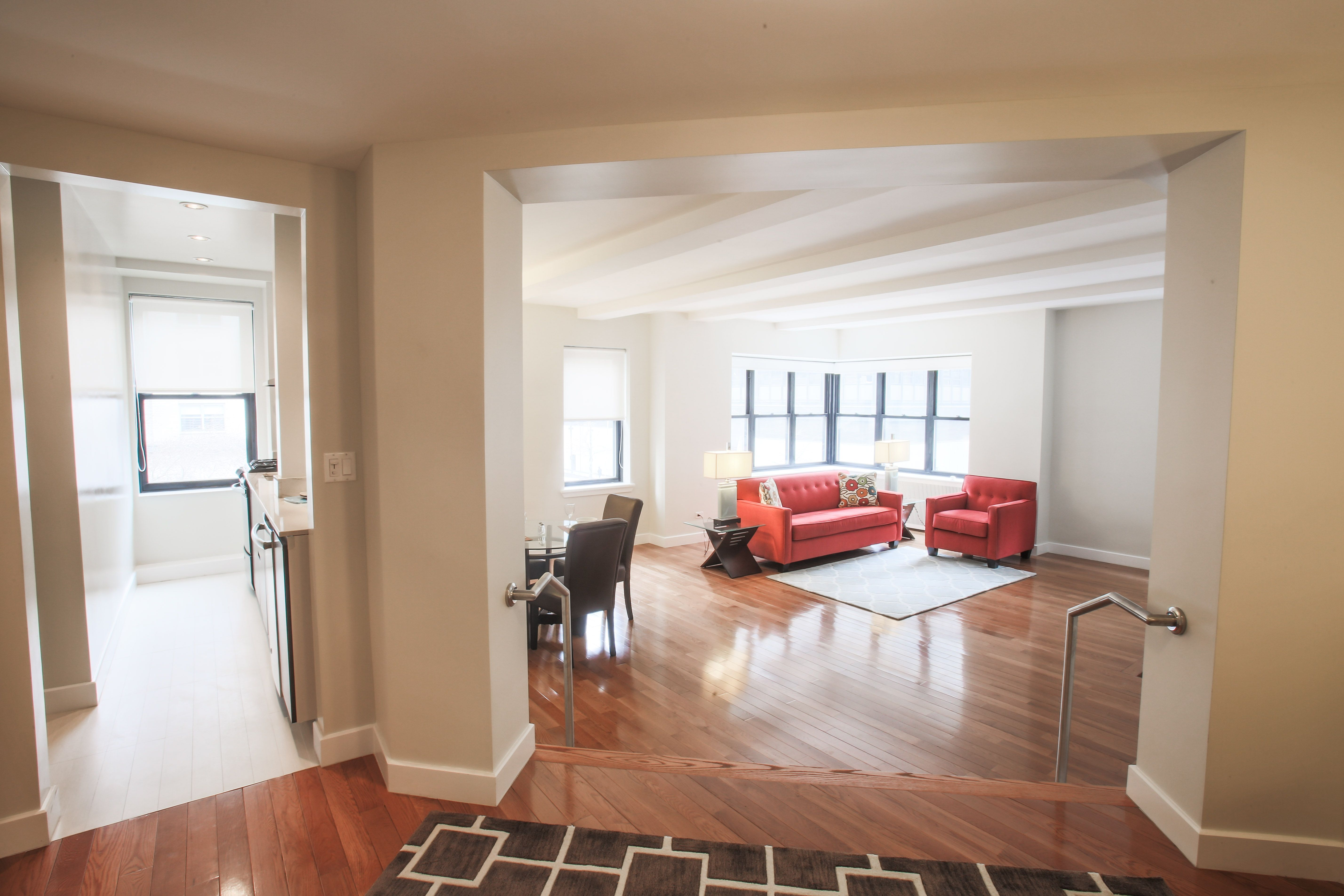 large, fully renovated two bedroom, two bath luxury apartment with